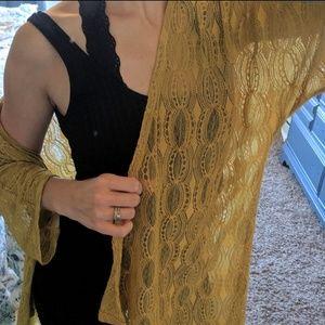 Gold mustard yellow lace cardio kimono NWOT